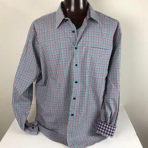 Alan Flusser 2XL Checkered Flip Cuff Dress Shirt